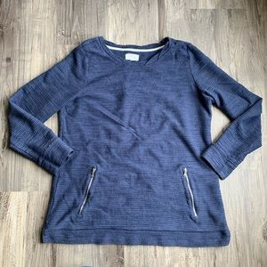 Lou & Grey Blue Textured Pullover Top Pockets L